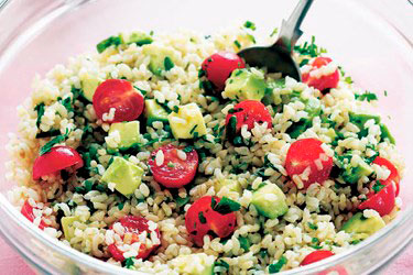 Ensalada de arroz y aguacate